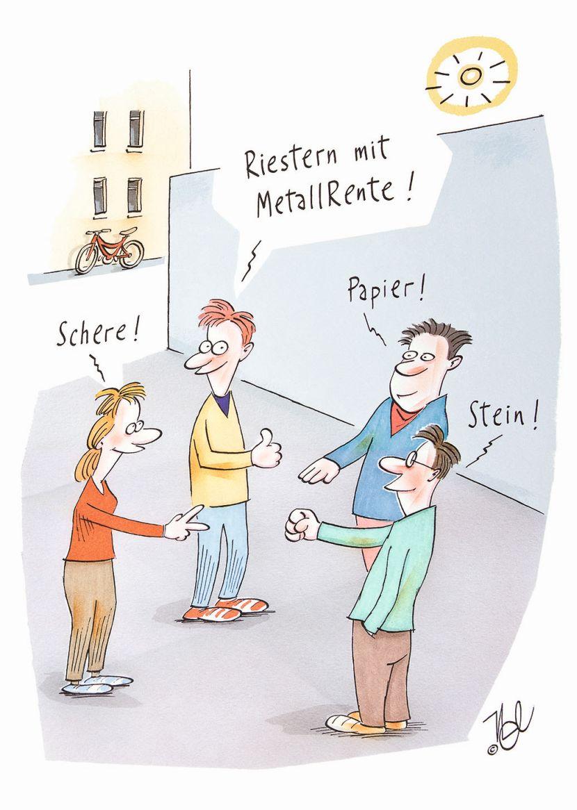 """Karikatur """"Schere, Papier, Stein, Riester mit MetallRente"""""""